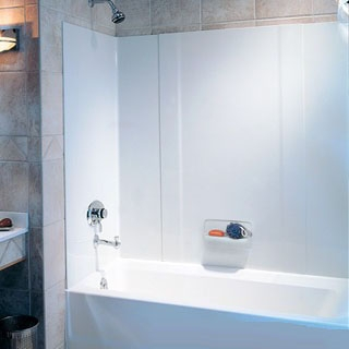 $$$ RM58 SWAN WHITE TUB WALL KIT 3-PIECE PRESSED FIBERGLASS
