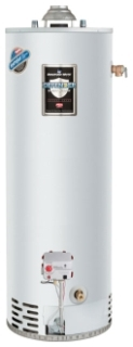 "RG250S6N-264 ""DEFENDER"" 48GAL 6YR NG 50000 BTU 4"" VENT GAS WATER HEATER With T/P VALVE, DEFENDER SAFETY SYSTEM AND ALUMINUM ANODE"