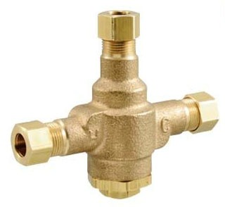 """LFE480-10 POWERS 3/8"""" THERMOSTATIC UNDERCOUNTER MIXING VALVE W/ 3/8""""OD COMP CONNECTIONS. (ASSE 1016 & 1070 COMPLIANT*)"""