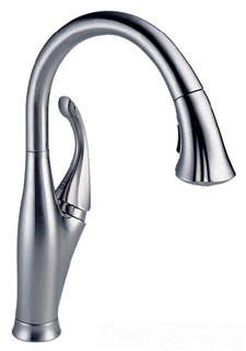 9192-AR-DST Arctic Stainless Delta Addison: Single Handle Water Efficient Pull-Down Kitchen Faucet