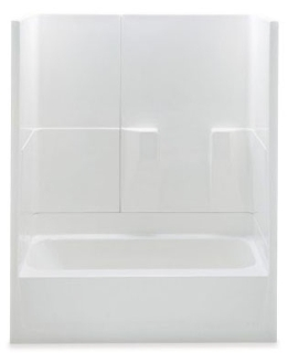 "2603TRIO-RH-WH AQUATIC 60""X30""X72"" TUB/SHOWER 3PC SMOOTH WALL WHITE, RIGHT HAND DRAIN, GELCOAT"