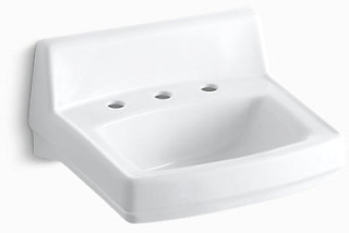 "K2030-0 KOHLER WHITE GREENWICH 20 X 18 ADA WALL HUNG LAV 8""C-C DRILLED FOR ARM CARRIERS"