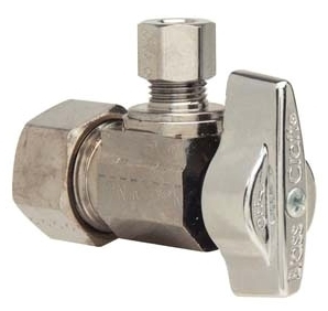 "KTCR19XC 5/8OD X 3/8"" COMPRESSION CP QUARTER TURN ANGLE STOP LEAD COMPLIANT - BALL BEARING STOP"