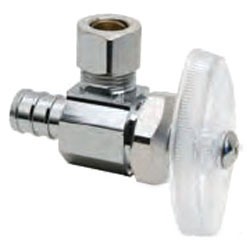 BRPX09X-C 1/2NOM BARB INLET X 1/4OD COMP OUTLET CP ANGLE PEX STOP