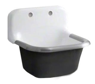K6716-0 KOHLER WHITE BANNON 24X20 SERVICE SINK W/DRILLED BACK W/RIM