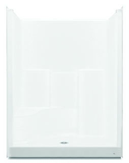 1603STSRH-0 AQUATIC WHITE 60X35X76 SMOOTH WALL GELCOAT 1-SEAT SHOWER RH SEAT.