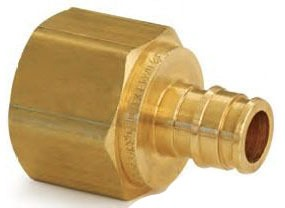"LF4571010 1"" FEMALE WIRSBO PROPEX LF BRASS THREADED ADAPTER, 1"" PEX X 1"" NPT AQUA"