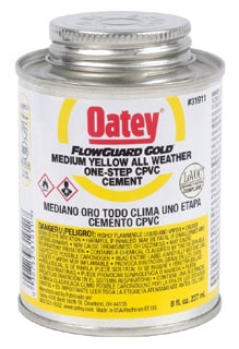 31911 OATEY 8OZ FLOWGUARD GOLD MEDIUM YELLOW ONE-STEP CPVC SOLVENT CEMENT (ONE STEP WITH FLO GUARD PIPE AND FITTINGS ONLY)