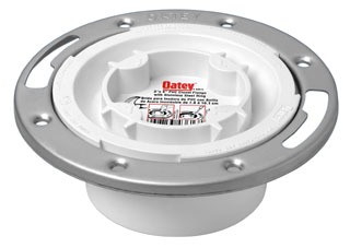 """43613 OATEY 3-4"""" PVC CLOSET FLG W/ EASY TAP AND STAINLESS RING (FITS OVER 3"""" & INSIDE 4"""")"""