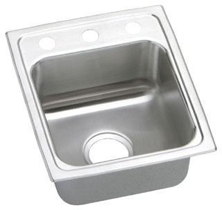LR1517-3 ELKAY 15X17 18 GAUGE S.S. 3 HOLE SINGLE BOWL LUSTERTONE SINK