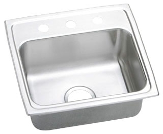 LR1918-3 ELKAY 19X18 18 GAUGE S.S. 3 HOLE SINGLE BOWL LUSTERTONE SINK