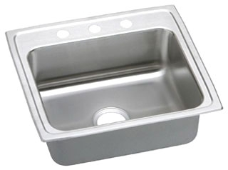 LR2219-3 ELKAY 22X19 18 GAUGE S.S. 3 HOLE SINGLE BOWL LUSTERTONE SINK