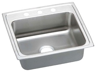 "$$$ LRQ2219-3 ELKAY 22""X19-1/2"" 18 GAUGE 3 HOLE SINGLE BOWL S.S. SINK WITH QUICK-CLIP MOUNTING SYSTEM W"