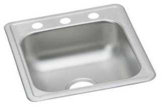 D117191 ELKAY 22 GAUGE STAINLESS STEEL 17IN X 19IN X 6.1875IN SINGLE BOWL TOP MOUNT BAR/PREP SINK