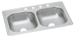 D23322-3 DAYTON 33 X 22 DOUBLE BOWL STAINLESS STEEL 3 HOLE SINK