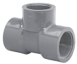 """4511T-10 1"""" SCH 80 PVC THD TEE (PVC 8402)"""