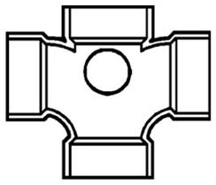 "483599-3020 3"" PVC CROSS W/2-2""SIDE OUTLET (D439-338 LASCO - 439 CHARLOTTE)"