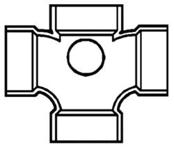 "48359-4020 4"" PVC CROSS W/ 2"" SIDE OUTLET (D438-420 LASCO - 438 CHARLOTTE)"