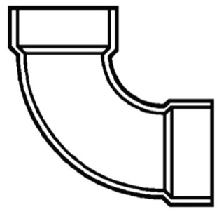 "1-1/2"" PVC DWV Long Sweep Turn 1/4 (90) Elbow"