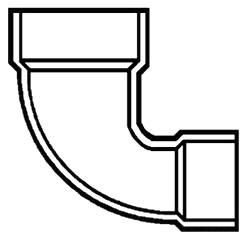 """4""""X3"""" PVC DWV 1/4 (90) Elbow"""