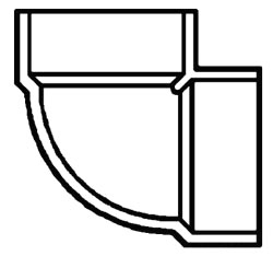 "2"" PVC DWV Vent 1/4 (90) Elbow"