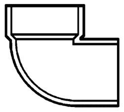 "2"" PVC DWV Street Vent 1/4 (90) Elbow"