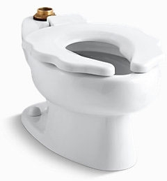 "$$$ K4321-0 KOHLER WH PRIMARY Elongated BOWL (1.6GPF) TOP SPUD 10"" RGH W/SEAT 10-3/4"" top of bowl"