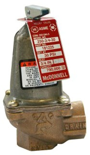 "250-3/4-30 (181225) 3/4"" McDONNELL MILLER 30LB RELIEF VALVE FxF"
