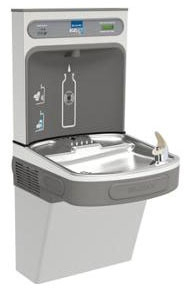 LZS8WSLK ELKAY 8GallonWALL MOUNT ADA SINGLE COOLER WITH EZH20 BOTTLE FILLING STATON & WATERSENTRY FILTER SYSTEM, LIGHT GRAY
