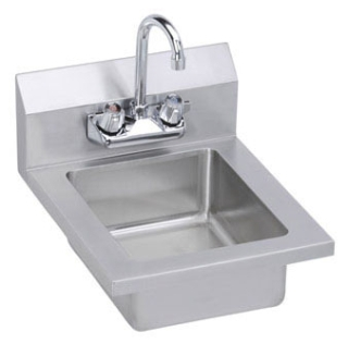 "EHS-14X ELKAY SSP 304 SS HANDWASH SINK 18ga. 14"" X 16-1/2"" X 11"" WITH 6"" BACKSPLASH FAUCET AND STRAINER"