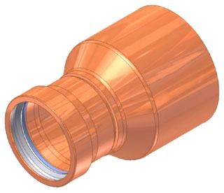 "3""X2-1/2"" Copper Press Fitting Reducer, Fitting x Press"