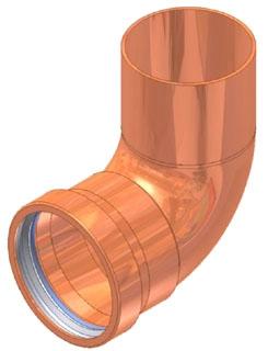 """3"""" Copper Press Street 90 Elbow, Fitting x Press"""