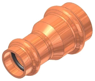 "1-1/4""x1"" Copper Press Coupling with Stop"