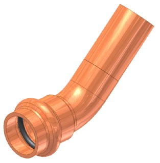 "1-1/2"" Copper Press Street 45 Elbow, Fitting x Press"