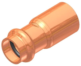 "2""x1/2"" Copper Press Fitting Reducer, Fitting x Press"