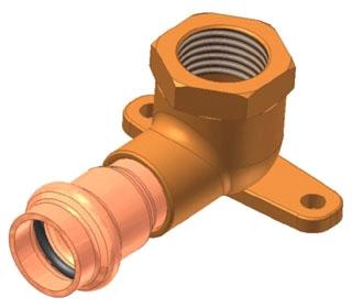 """3/4"""" Copper Press 90 Drop Ear Elbow, Press x FIP"""