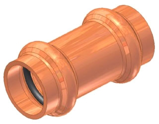 "3/4"" Copper Coupling without Stop"