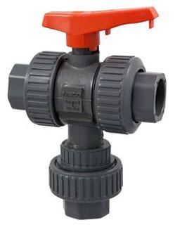 "S45M3-V 1-1/2"" CHEMTROL SOCKET PVC MULTIPORT BALL VALVE W/VITON O-RINGS 039923740052"