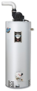"RG1PV50S6N-264 BRADFORD WHITE 50 GAL 6YR NG 2"" OR 3"" VENT 40000 BTU THROUGH-THE-WALL SHORT NAT GAS WATER HEATER With T/P VALVE FLAMMABLE VAPOR IGNITION STANDARD AND ALUMINUM ANODE"