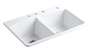 "K5846-4-0 KOHLER BROOKFIELD SINK, DE, SR, 4-HOLE 33"" X 22"" X 9""DEEP"