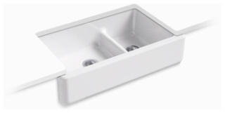 K6427-0 KOHLER WHITEHAVEN UC 36 SD, TALL APRON SINK WHITE SMART DIVIDE