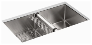 K5281-NA KOHLER STRIVE U/C DOUBLE EQUAL SINK W/RACK