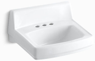"K2032-0 KOHLER WHITE GREENWICH 20 X 18 ADA WALL HUNG LAV 4""C-C DRILLED FOR ARM CARRIERS"