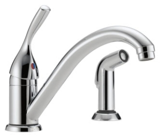 175-DST DELTA CLASSIC SINGLE HANDLE KITCHEN FAUCET WITH SPRAY CHROME 2-HOLE INSTALLATION