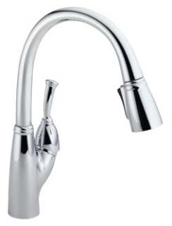 989-DST Chrome Delta Allora: Single Handle Pull-Down Kitchen Faucet