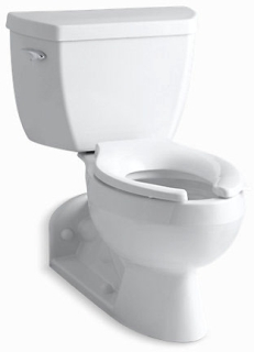 K3554-0 KOHL WH BARRINGTON PRESSURE Elongated REAR OUTLET TOILET W/CP TRIP ON LH SIDE (1.6GPF) ADD SEAT/SUPLY
