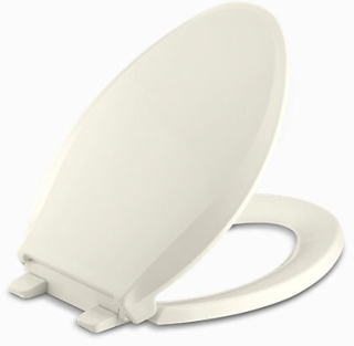 K4636-96 KOHLER BISCUIT ELONGATED CACHET- EB TOILET SEAT- SLOW-CLOSE QUICK-REL