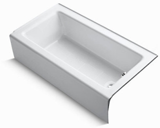K876-0 BELLWETHER WHITE CAST IRON BATH RH