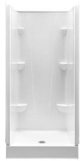 3636CS-WHT AQUATIC WHITE 36X36X76 SMC SHOWER 4PC SMOOTH WALL CENTER DRAIN