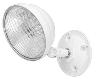 DUAL-LITE OMSSB0605 OMS SERIES, BLACK SINGLE HEAD WITH MOUNTING PLATE, T-5 SEALED BEAM TYPE,INCANDESCENT 6V 5W LAMP.